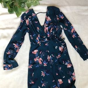 Astr Blue and Pink Floral Dress